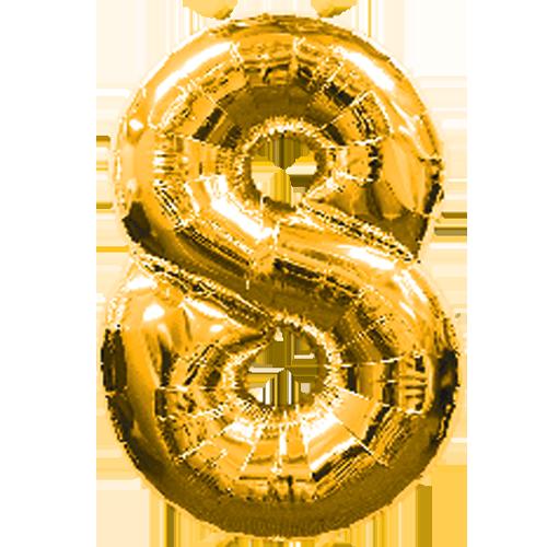 Ballon cijfer kies zelf het getal (Gold)